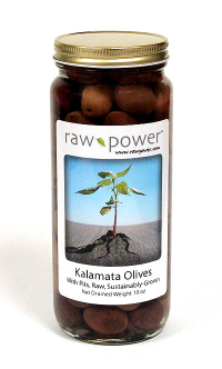 Click to enlarge Kalamata Olives, with pits, Raw Power (10 oz, raw, sustainably-grown)