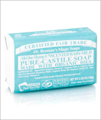 Click to enlarge Dr. Bronner's Pure Castile Bar Soap, Unscented Baby-Mild (5 oz)