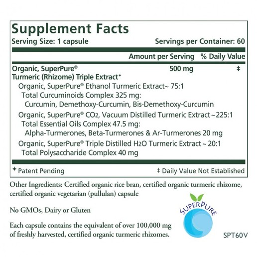 Turmeric Extract, SuperPure, Synergy, organic (60 caps, 60-day supply)