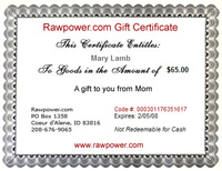 Click to enlarge Raw Power Gift Certificate
